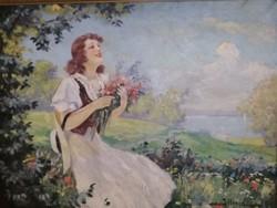 ILLENCZ LIPÓT ÚJARAD, 1882 - 1950, ARAD : Virágszedő leány eredeti festmény