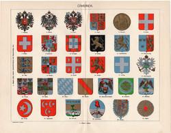 Címerek, litográfia 1894, színes nyomat, eredeti, magyar nyelvű, címer, osztrák, porosz, mexikói