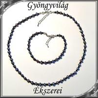 Édesvizi igazgyöngy nyaklánc-karkötő szett, ezüstözött kapoccsal SSZEB-IG03 5x5 black