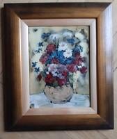 Fehér Margit: Virágok vázában, tűzzománc