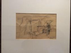 """Patkó Károly """"Üst mellett"""" ceruza rajz."""