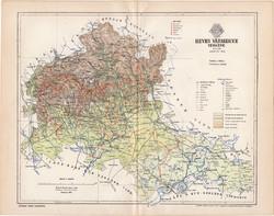 Heves vármegye térkép 1894 (10), lexikon melléklet, Gönczy Pál, megye, Posner Károly, eredeti