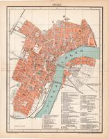 Szeged térkép 1897 (10), lexikon melléklet, Gönczy Pál, Posner Károly, eredeti, Tisza, város