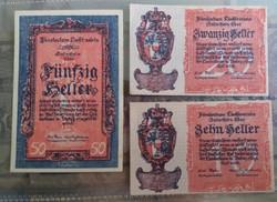 Ritka Liechtenstein sor 1920 10-20-50 Heller.