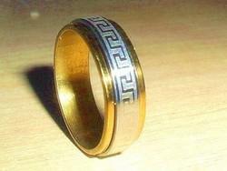 Görög mint. Arany-Ezüst Nemesacél Karikagyűrű 8-as
