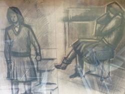 Az asszony - szénrajzpár Kohán György stílusában (üveg alatt, keretben, 48x65 cm)