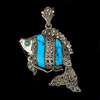 Kék türkiz Marcasite 925 ezüst hal medál