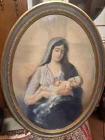 Óriási Pádly (Páldy) Aladár :Mária a kisdeddel, kis Jézussal. pasztell