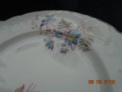 Antik szecessziós egyedi kézzel festett virágmintás, dombormintás  tányér
