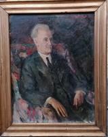 Balogh András : Férfi portré 1939 Nagyméretű 110x90 cm