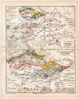 Osztrák - Magyar Monarchia ipari térképek 1908, német nyelvű, eredeti, Magyarország, ipar, fő, régi