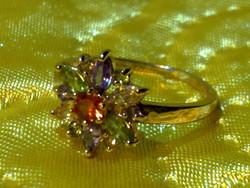Csodás aranyozott színes virág drágaköves gyűrű  arany