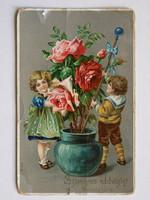 NÉVNAPI ÜDVÖZLET POST CARD, KÉPESLAP 1910 (9X14 CM) EREDETI