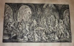 SZABÓ VLADIMIR: Az ifjúság kútja, 1962 (rézkarc, aláírt, 29x49cm)