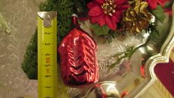 Régi figurális üveg karácsonyfadísz piros házikó
