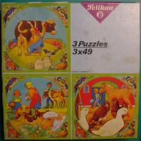 FARM Puzzle játék – 3 db Farm életkép puzzle kirakó – hiánytalan – Használt