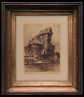 Nyugat-európai művész alkotása (fekete-fehér rézkarc), vagy 100 éves alkotás, virtuális keretezéssel