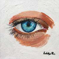 Kék szem 15x15 keretben
