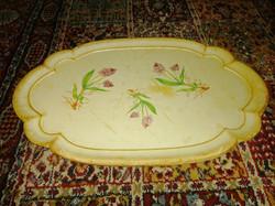Antik fa tálca gyógynövény dekorral antique wooden tray