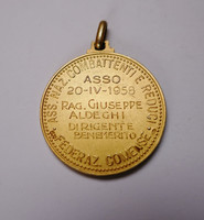 Olasz veteránok Országos Egyesülete 1958 ezüst érem.