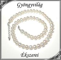 Édesvizi igazgyöngy nyaklánc, ezüstözött kapoccsal SLEB-IG06 6,5x8 fehér