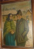 LADÁNYI IMRE: Falusi utcakép idős párral, 1937 (olaj-vászon 27x37) - Aba-Novák Vilmos tanítványa!