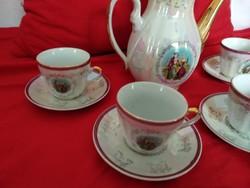 Irizáló zsánerképes kávéskészlet kávés porcelán szett Zsolnay style porcelain cup coffee set