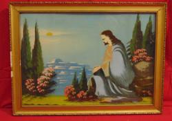 Jézus az Olajfák hegyén - Tipikus szentkép, olaj kartonon alkotás antik keretben