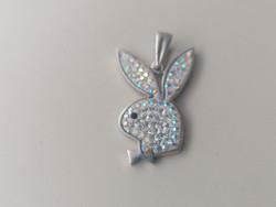 Ezüst Playboy nyuszi medál cirkonkövekkel díszítve