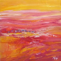 """""""Sunset bright"""" abstract painting is a unique, original work! Signed, direct from the artist!"""