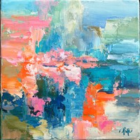 Lake Balaton inspiration III. Abstract painting, signed, direct from the artist!