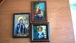 3 db kicsi vallásos festmény egyben