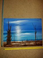 Üde színekkel keresi szép, modern keretét ez a modern festmény, 30x40, olaj, farost