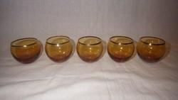 5 db antik likőrös pohár borostyán szín