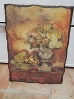'Virágcsendélet', nyomat, fa falikép, 30x23 cm