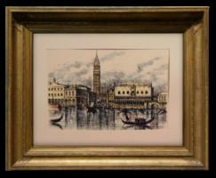 'Venezia'- Nagyon igényes grafikai munka, velencei látkép paszpartuzva a 60-70-es évekből!