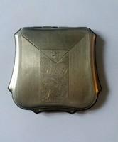 Ezüst Lant alakú Princess pudrié, szelence, doboz, B K monogrammal