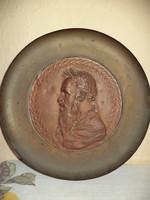 Anti réz falitányér bronz portréval