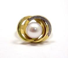 Sárga-fehér arany gyöngyös gyűrű (ZAL-Au60743)