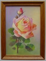 Olajfestmény - sárga rózsa