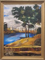 Ismeretlen festő közel-keleti tájat ábrázoló olajfestménye (80x100)