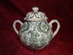 Japán porcelán, zöld mintás cukortartó, magassága 11 cm.