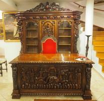 Neoreneszánsz dolgozószoba garnitura : könyvszekrény, íróasztal, dohányzóasztal, karosszék