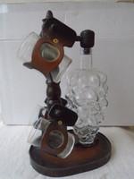 Ritka iparművész által készített bőrből készült szőlőfürt mintás borosüveg cca 1 literes