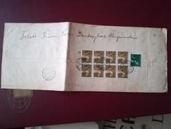 1947-es Ajánlott levél Dombegyháza-Kübekháza 8x 30 f+20 f