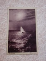 Régi képeslap 1928 Balaton vitorlás hajó