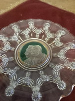 Ferenc József és II Vilmos üveg emléktányér. Franz Josef II Wilhelm glasteller.