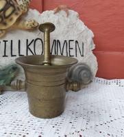 10 cm magas rézmozsár, mozsár, nosztalgia darab, paraszti dekoráció