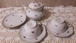 Zsolnay, arany tollazott, barokkos, 2db teás csésze alátét, cukortartó, pótlásra