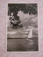 Régi képeslap 1940 Balaton vitorlás hajó